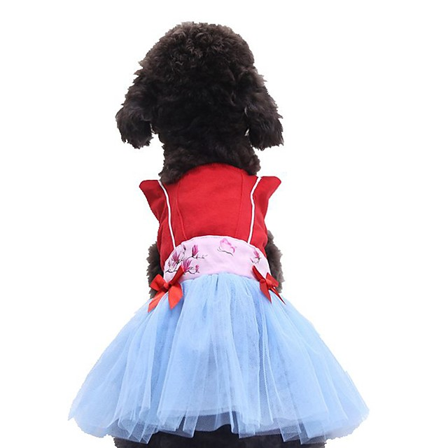 Dog Cat Dress Bowknot Embroidered Stylish Sweet Style Dog Clothes Puppy Clothes Dog Outfits Red Costume for Girl and Boy Dog Cotton XS S M L XL XXL
