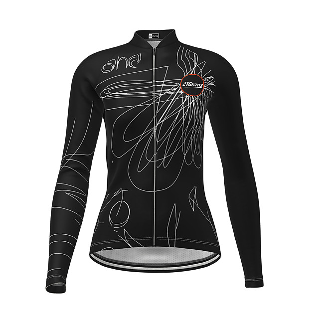 21Grams Women's Long Sleeve Cycling Jersey Winter Polyester Black Novelty Bike Jersey Top Mountain Bike MTB Road Bike Cycling Quick Dry Back Pocket Sports Clothing Apparel / Micro-elastic