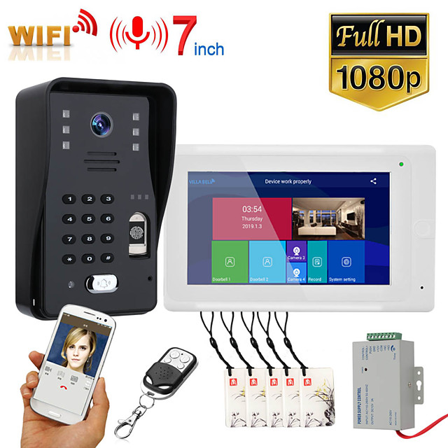 MOUNTAINONE SY703WMJLP11 7 inch Wifi Wireless Video Door Phone Doorbell Intercom System With Wired Fingerprint RFID AHD 1080P Door Access Control System Support Remote APP Unlocking Recording Snapshot