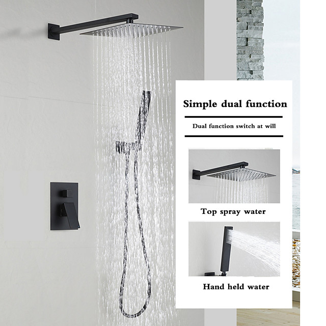 Matte Black Shower Faucets Sets Complete with Stainless Steel Shower Head and Solid Brass Handshower Wall Mounted Rainfall Shower Head System Contain Shower Faucet Rough-in Valve Body and Trim