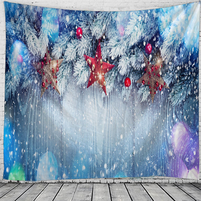 Christmas Wall Tapestry Art Decor Blanket Curtain Picnic Tablecloth Hanging Home Bedroom Living Room Dorm Decoration Polyester Ball Star