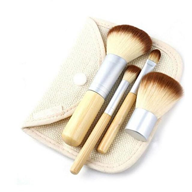 makeup brushes,lotus.flower 4pcs makeup brush set premium synthetic foundation brush blending face powder blush eye shadows make up brush+make up brush bag (4 pcs)