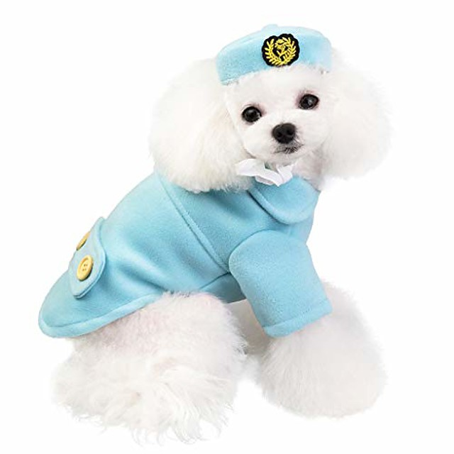 pet cat dog clothes, cute airline steward & airline stewardess suit woolen warm coat for small dog puppy jackets for autumn winter (m, blue)