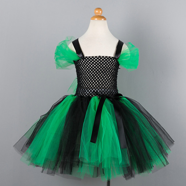 Witch Cosplay Costume Costume Girls' Movie Cosplay Tutus Plaited Vacation Dress Green Dress Christmas Halloween Carnival Polyester / Cotton Polyester
