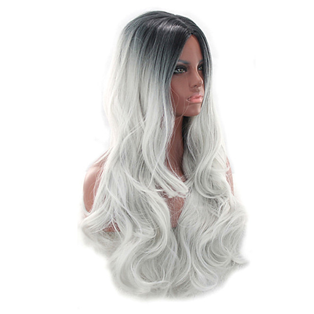 Synthetic Wig Curly Bouncy Curl Middle Part Wig Long Grey Synthetic Hair 28 inch Women's Fashionable Design Soft Easy to Carry Black Gray
