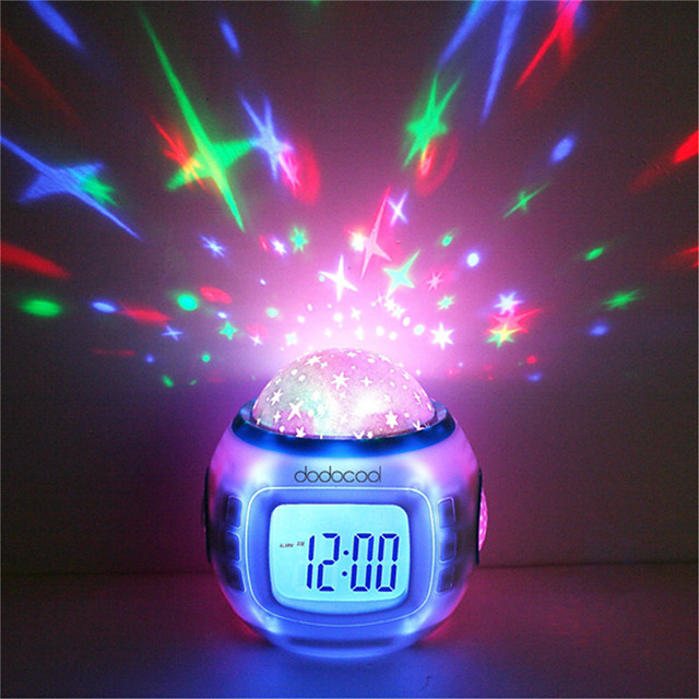 1pcs Music Alarm Clock Sky Projector Light Staycation For Children Color-Changing Birthday Gift(Not Include Batteries)