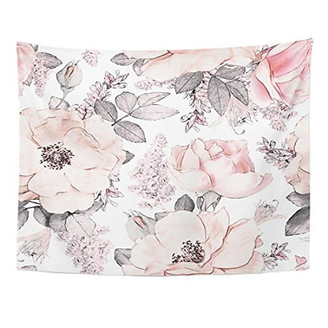 tapestry pink flowers and leaves on watercolor floral pattern rose home decor wall hanging for living room bedroom dorm 60x80 inches