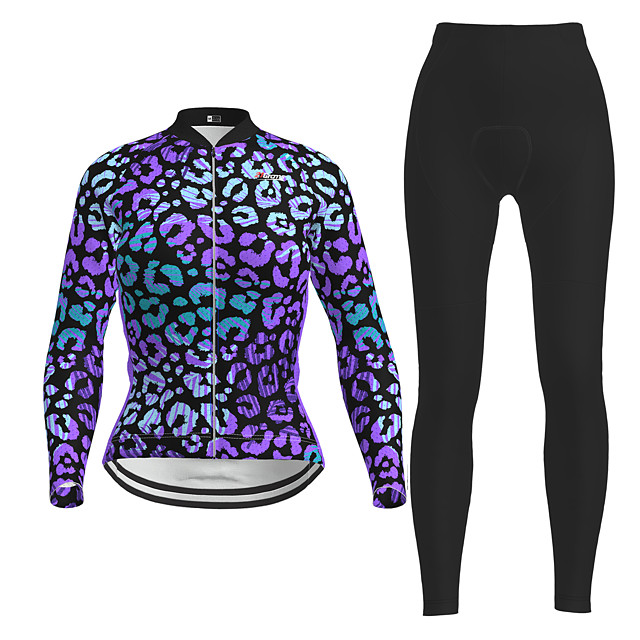Women's Long Sleeve Cycling Jersey with Tights Purple Novelty Bike Breathable Quick Dry Moisture Wicking Sports Novelty Mountain Bike MTB Road Bike Cycling Clothing Apparel / Micro-elastic