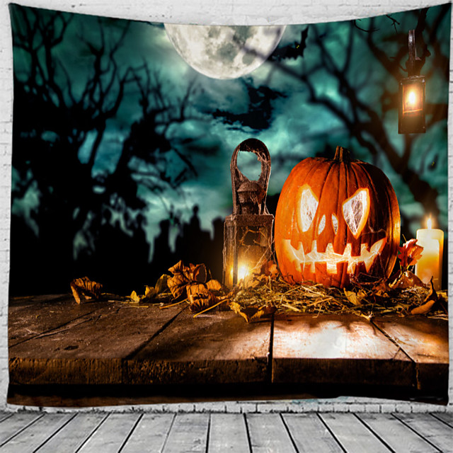 Halloween Wall Tapestry Art Decor Blanket Curtain Picnic Tablecloth Hanging Home Bedroom Living Room Dorm Decoration Psychedelic Skull Skeleton Bat Pumpkin Haunted Scary Grave Polyester