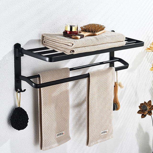 Multifunction Towel Bar New Design Modern Aluminum Bathroom Shelf Wall Mounted Matte Black 1PC