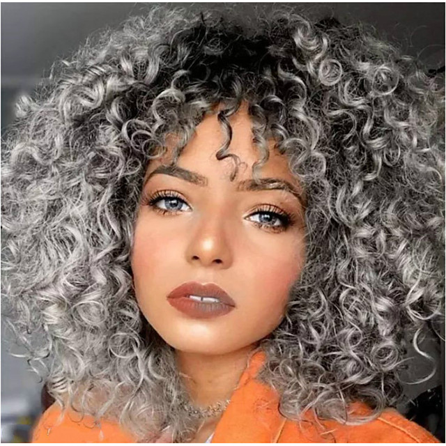 Synthetic Wig Afro Curly Middle Part Wig Long Medium Length Grey Synthetic Hair 65 inch Women's Highlighted / Balayage Hair Dark Roots Middle Part Dark Gray