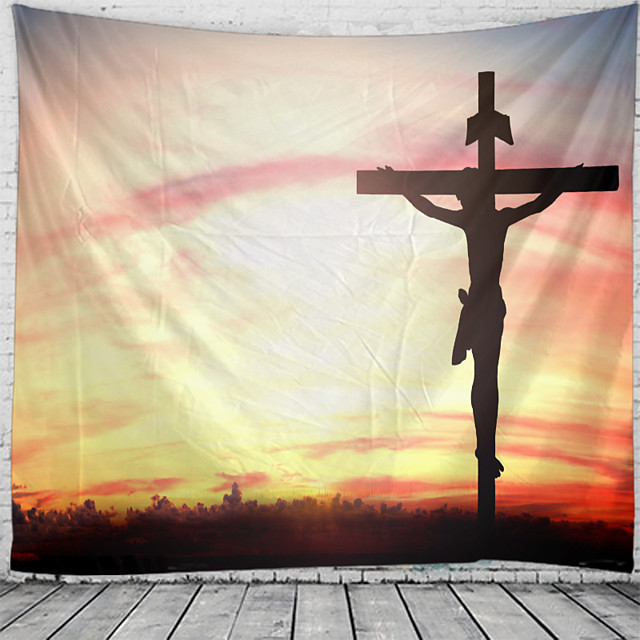 Christmas Santa Claus Holiday Party Wall Tapestry Art Decor Blanket Curtain Picnic Tablecloth Hanging Home Bedroom Living Room Dorm Decoration Jesus Cross Polyester
