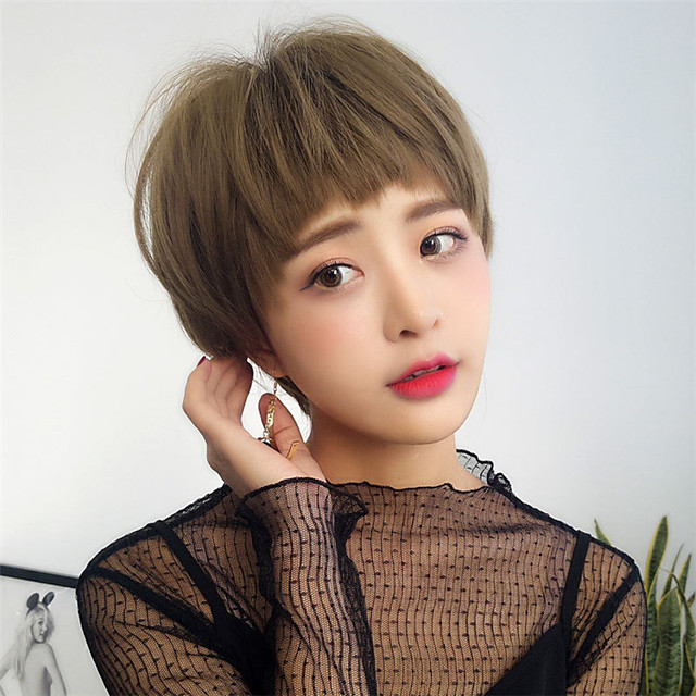 Synthetic Wig Straight Pixie Cut Wig Short Light Brown Dark Brown Synthetic Hair 12 inch Women's Fashionable Design Cute Classic Dark Brown Light Brown