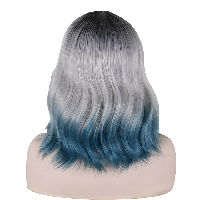Synthetic Wig Tight Curl Middle Part Wig Short Black / Blue Synthetic Hair 14 inch Women's Party Classic Exquisite Dark Gray Blue
