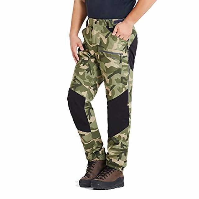 mens pro hiking stretch pants cargo trouser water-resistant tactical outdoor working pants (green camo, xxxl)