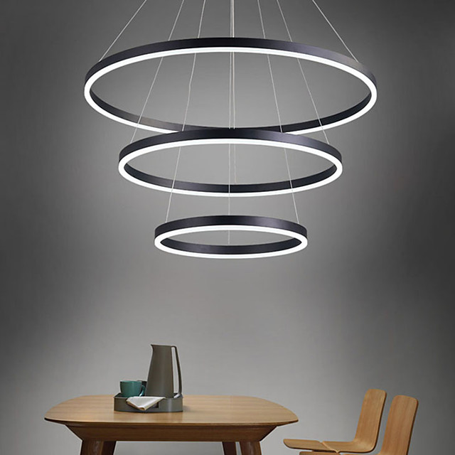 LED Pendant Light 3-Light 80cm/60cm/40cm Ring Circle Design 113W Aluminum Painted Finishes Downlight Smart Wifi Control Dimmable with Remote Control