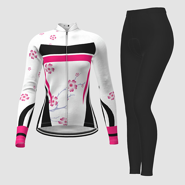 21Grams Women's Long Sleeve Cycling Jersey with Tights Winter Polyester White Novelty Floral Botanical Bike Jersey Tights Clothing Suit Breathable Quick Dry Moisture Wicking Back Pocket Sports Novelty