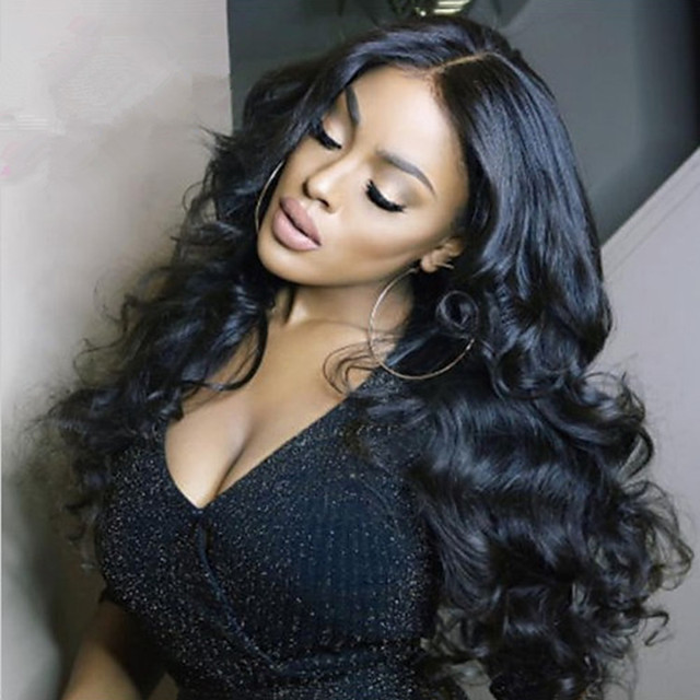 Synthetic Wig Body Wave Middle Part Wig Very Long Black Synthetic Hair Women's Fashionable Design Middle Part Fluffy Black