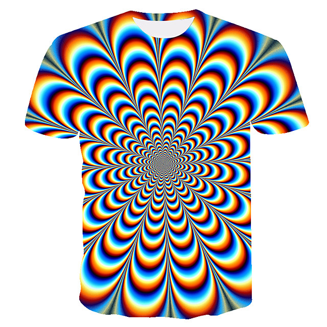 Men's Graphic optical illusion T-shirt Print Short Sleeve Daily Tops Basic Rainbow