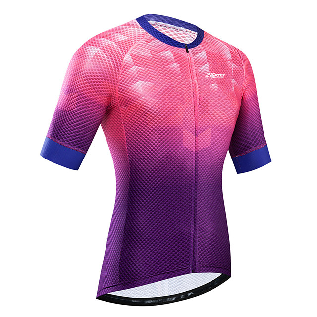 21Grams Women's Short Sleeve Cycling Jersey Summer Rose Red Bike Jersey Top Mountain Bike MTB Road Bike Cycling UV Resistant Breathable Quick Dry Sports Clothing Apparel / Stretchy / Race Fit