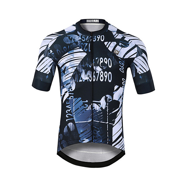 CAWANFLY Men's Short Sleeve Cycling Jersey Rough Black Bike Jersey Top Mountain Bike MTB Road Bike Cycling Quick Dry Sports Clothing Apparel / Stretchy