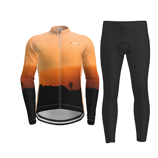 Men's Long Sleeve Cycling Jersey with Tights Orange Novelty Bike Breathable Quick Dry Moisture Wicking Sports Novelty Mountain Bike MTB Road Bike Cycling Clothing Apparel / Micro-elastic