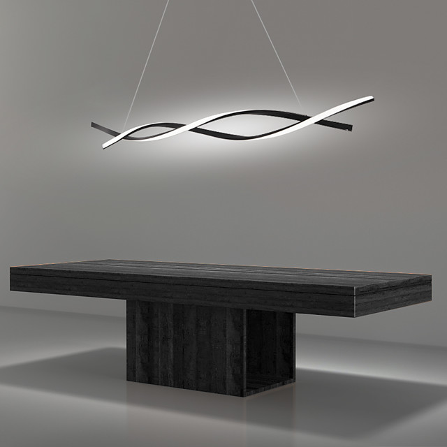 2-Light 80 cm LED Pendant Light Adjustable Chandelier Aluminum Linear Painted Finishes Curl Wave Design 110-120V 220-240V