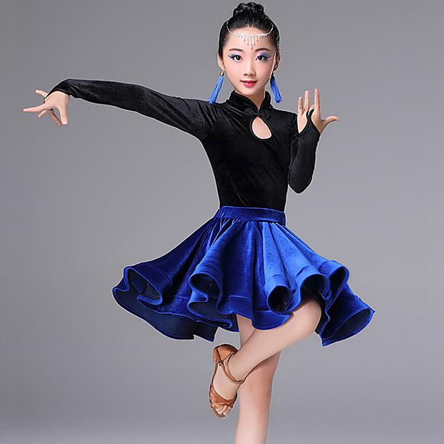 Latin Dance Skirts Side Draping Ruching Gore Girls' Training Performance Long Sleeve Velvet Polyester