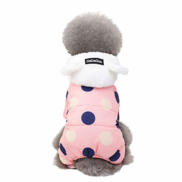 pet dog hooded snowsuit for small dogs fleece dot printed warm winter coat puppy cat outfits jumpsuit (xl, pink)