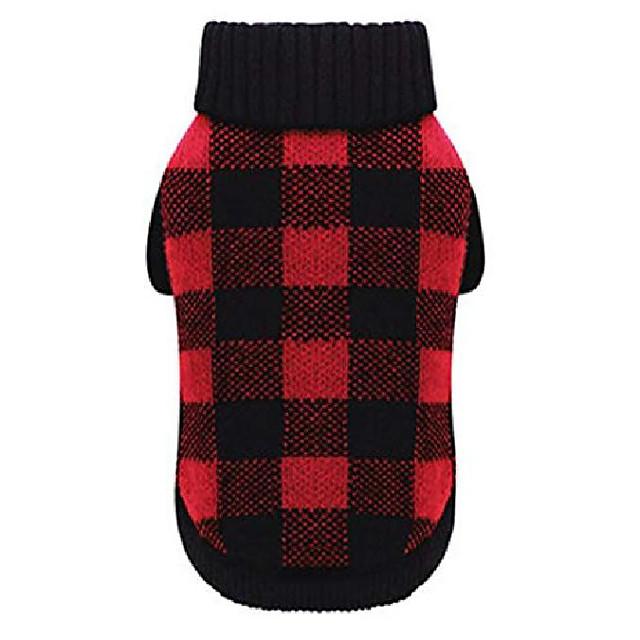 red black buffalo dog sweater british plaid knitted xmas holiday festive turtleneck pet sweater,large & # 40; l& #41; size