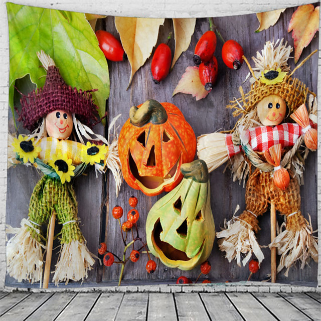 Halloween Wall Tapestry Art Decor Blanket Curtain Picnic Tablecloth Hanging Home Bedroom Living Room Dorm Decoration Psychedelic Pumpkin Scarecrow Polyester