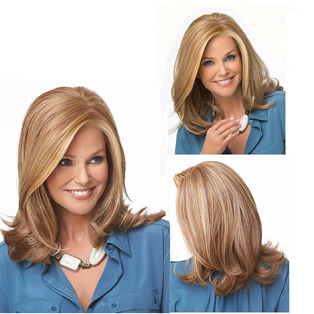 Synthetic Wig Curly Middle Part Wig Long Brown Synthetic Hair Women's Fashionable Design Classic Highlighted / Balayage Hair Brown