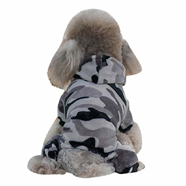 winter dog coat camouflage dog hoodies jumpsuit for pet dog camo soft velvet pajamas clothes apparel