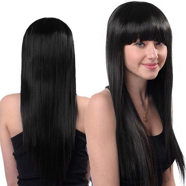 Synthetic Wig Straight Neat Bang Wig Very Long Black Synthetic Hair Women's Fashionable Design Party Classic Black