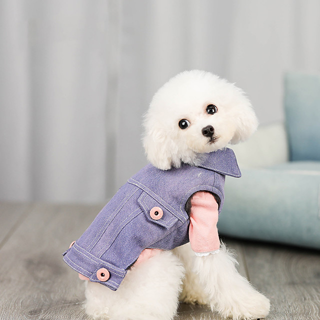 Dog Coat Vest Solid Colored Casual / Sporty Fashion Casual / Daily Winter Dog Clothes Puppy Clothes Dog Outfits Breathable Black Purple Blue Costume for Girl and Boy Dog Jeans S M L XL XXL