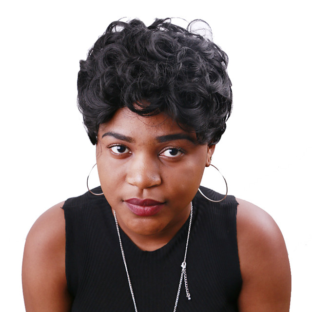 Synthetic Wig Curly Pixie Cut Wig Short Black Synthetic Hair 12 inch Women's Classic Cool Fluffy Black