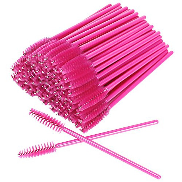 akstore 100 pcs disposable eyelash brushes mascara wands eye lash eyebrow applicator cosmetic makeup brush tool kits (rose)