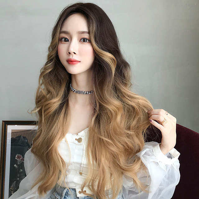 Synthetic Wig Deep Wave Middle Part Wig Very Long Blonde Synthetic Hair 30 inch Women's Soft Classic Ombre Hair Brown