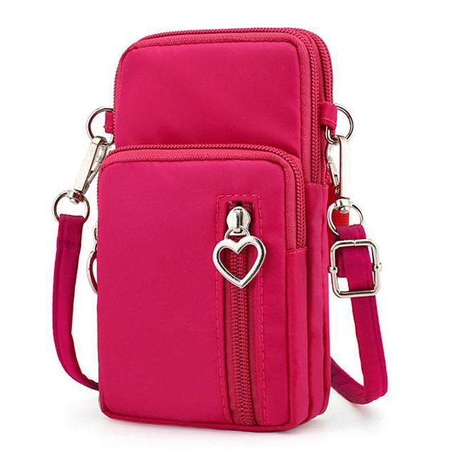 oxford cell phone purse wallet pouch mini crossbody shoulder bag zip handbag with card pocket (black)