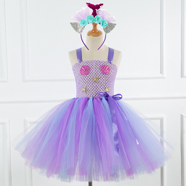 Mermaid Dress Costume Girls' Movie Cosplay Tutus Braided / Cord Vacation Dress Purple / Light Purple Dress Headwear Christmas Halloween Carnival Polyester / Cotton Polyester