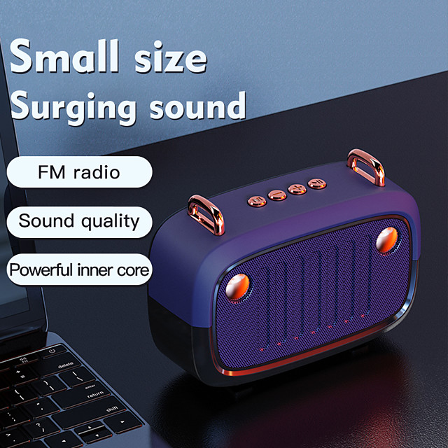 Cool Portable Bluetooth V5.0 Speaker Long Worktime Outdoor Loudspeaker Support TF Card/U Disk/FM Radio Wireless Column