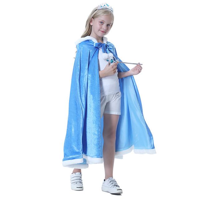 Princess Elsa Cloak Masquerade Flower Girl Dress Girls' Movie Cosplay A-Line Slip Vacation Dress Blue Cloak Children's Day Masquerade Polyester
