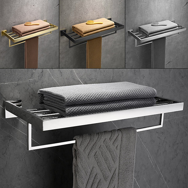 Brushed Double Towel Bar Stainless Steel Bathroom Towel Rack Shelf Wall Mount Contemporary Style Use for Bathroom/Kitchen/Living Room 30/40/50/60CM