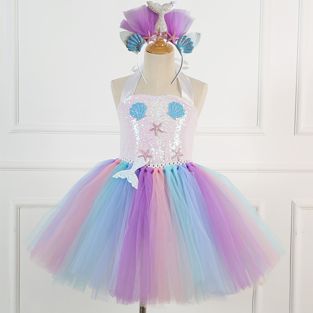 Mermaid Dress Girls' Movie Cosplay Vacation Dress New Year's Pink Dress Headwear Christmas Halloween Carnival Polyester / Cotton Polyester