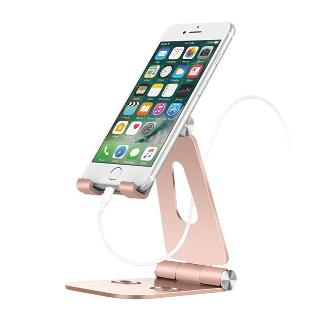 Cell Phone Stand Holder Aluminum Alloy Desktop Cradle Dock Anti-Slip Base and Convenient Charging Port office Compatible with Smartphone Android apple iPhone Tablet Foldable Adjustable