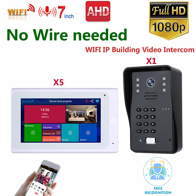 MOUNTAINONE SY706W008WF15 7 Inch Wireless WiFi Smart IP Video Door Phone Intercom System With One 1080P Wired Doorbell Camera And 5x Monitor  Support Remote Unlock