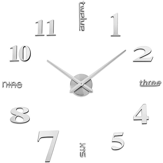 Frameless Large DIY Wall Clock, Modern 3D Wall Clock with Mirror Numbers Stickers for Home Office Decorations Gift (Silver) 120*120cm