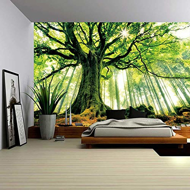 nature forest thick tree wall tapestry large 3d print wall art hanging for bedroom living room dorm decor, w79 x t59,green and white