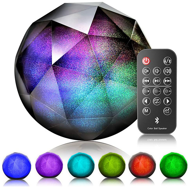 Wireless Speaker LED Bluetooth Speaker Colorful Wireless Loud Speaker with Remote Control for Windows IOS Android Support Aux-in/tf Card