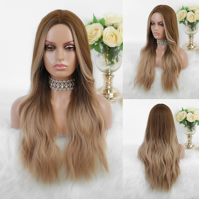 Cosplay Costume Wig Synthetic Wig Ombre Wavy Body Wave Middle Part Wig Long Dark Blonde Synthetic Hair 26 inch Women's Fashionable Design Heat Resistant Party Blonde Mixed Color EMMOR / Ombre Hair